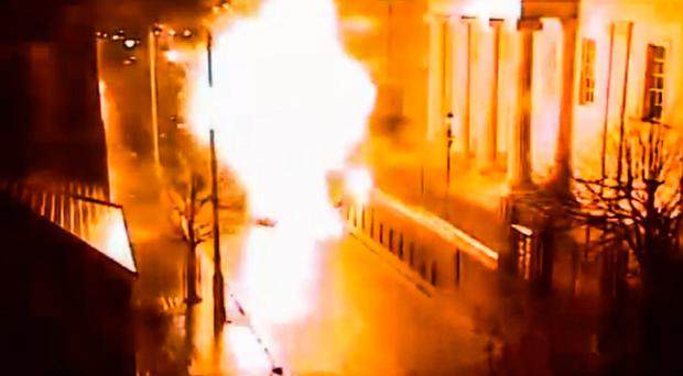 A car bomb explodes outside Londonderry Courthouse in January