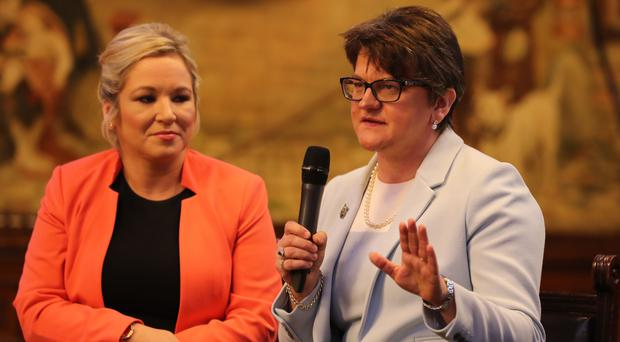DUP leader Arlene Foster and Sinn Fein's Northern Ireland leader Michelle O'Neill (Owen Humphreys/PA)