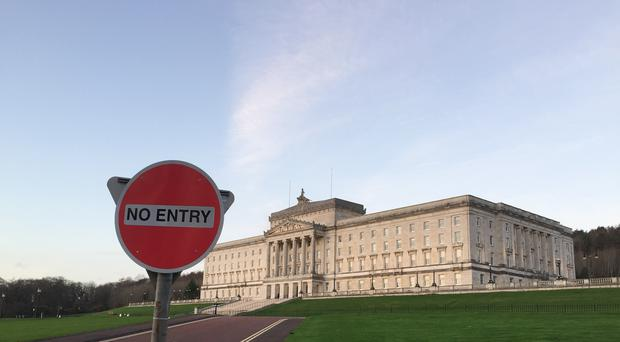A No Entry sign outside Parliament Buildings at Stormont in Belfast.