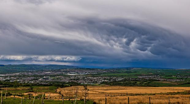 Menacing clouds over Burnley, Lancashire, before Storm Hannah hit the west of the UK (Peter Byrne/PA)