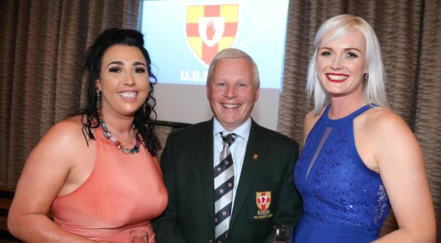 Grainne Crabtree with Glenda Mellon (right) and Adrian Millar at the weekend awards ceremony