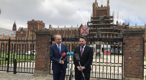The botched renewable heating scheme was no justification to collapse the Assembly, the Fianna Fail leader Micheal Martin (l) said during local government election canvassing in Belfast (Michael McHugh/PA).