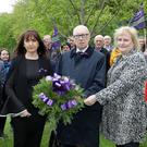 Gerry Carson, National Union of Journalists; Geraldine Alexander (right) of the ICTU Health and Safety Committee; and Alison Millar, of Unison and vice chair of ICTU, lay a wreath yesterday