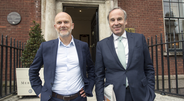 Mediahuis CEO Gert Ysebaert (left) and Chairman Thomas Leysen at The Merrion Hotel in Dublin yesterday