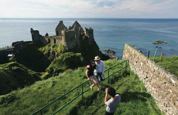 Tourists at Dunluce Castle