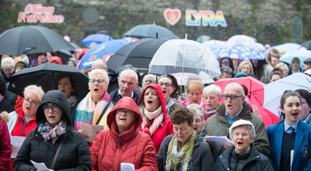 The crowd in Guildhall Square for the Sing for Peace event