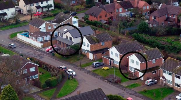 An aerial view of the former homes of Peter Farquhar (left) and Ann Moore-Martin (right) in Manor Park, Maids Moreton, Buckinghamshire