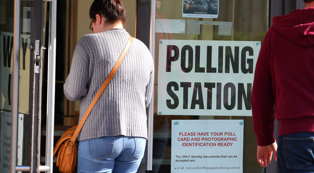 Voters at the polling station at Newtownbreda Baptist Church in south Belfast