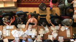 Counting in the local government elections begins at Belfast City Hall (Rebecca Black/PA).
