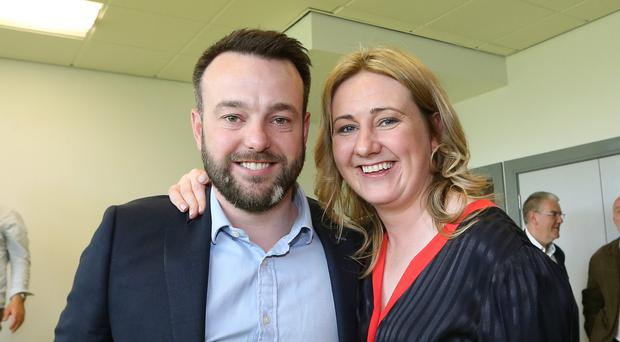 SDLP's Mary Durkan, who topped the poll for Foyleside ward, with party leader Colum Eastwood