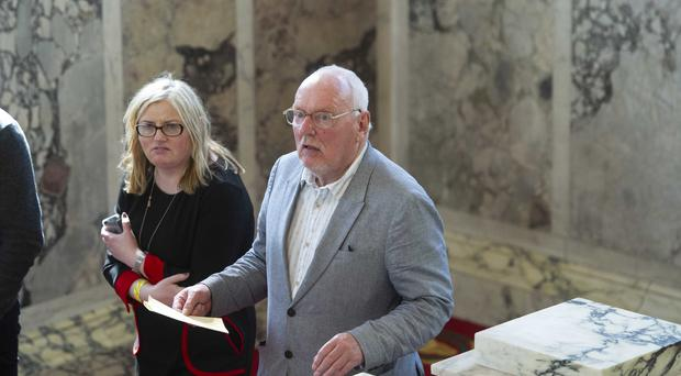 Jeffrey Dudgeon of the UUP at the local government election count at Belfast City Hall.