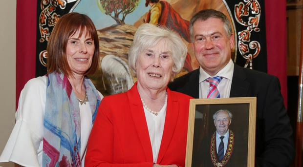 Relatives of the late Millar Farr at the memorial service in Cookstown, wife Margaret (centre) and children Jayne and Ivan