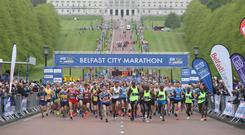 The marathon gets under way at Parliament Buildings, Stormont