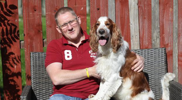 Justin Allen from Whitehead with his dog Griffin