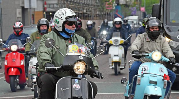 Mods and former Mods turned up in force yesterday at Belfast City Hall before heading off for their annual May bank holiday ride-out