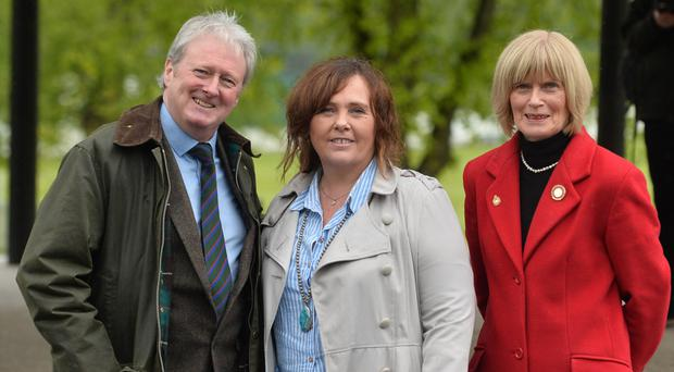 Actor Charlie Lawson with Yvonne Black, widow of officer David Black with Mary Moreland, chairman of The War Widows Association, launching an event to mark 50th anniversary of Operation Banner