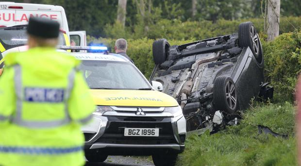 Emergency services at the scene of a second accident near Coleraine