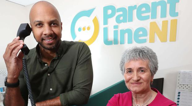 IIbe Sesay and Pauline Leeson, chief executive of Children in Northern Ireland
