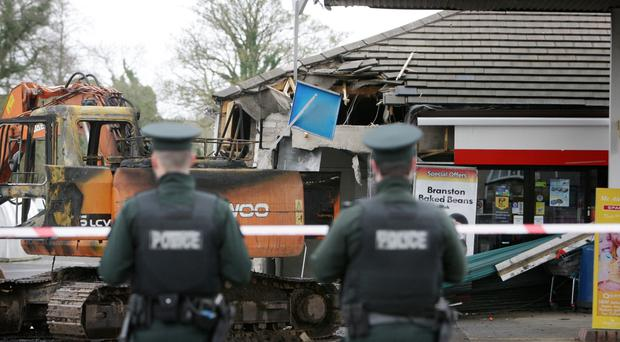 Police at the scene of an ATM theft on Dromore Road in Irvinestown in March.