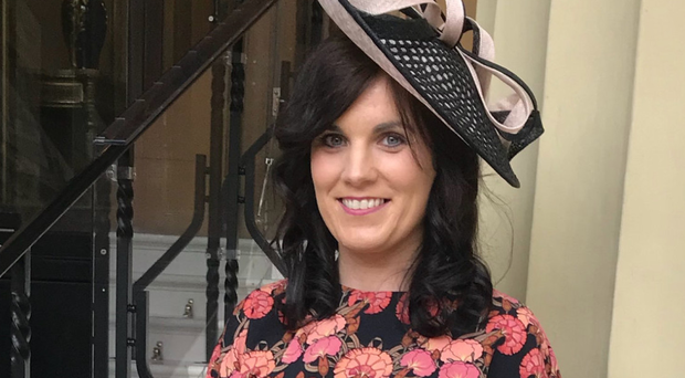 Claire O'Hanlon after receiving her MBE at Buckingham Palace