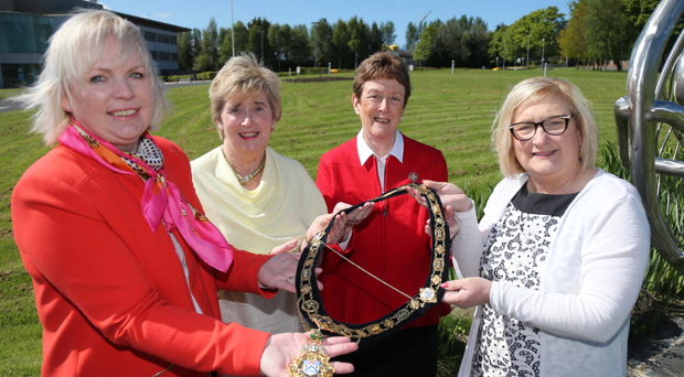 Mayor of Causeway Coast and Glens Borough Council, Councillor Brenda Chivers (far right) with (from left) Councillor Michelle Knight-McQuillan, Councillor Joan Baird OBE and Maura Hickey