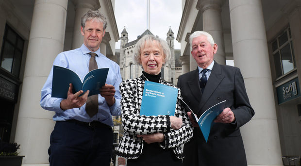 Professor Duncan Morrow, Ulster University; Lady Moyra Quigley, and Ronnie Kells of the Sir George Quigley Committee