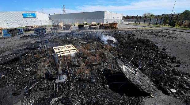 Hundreds of pallets at a bonfire site in east Belfast have been set alight