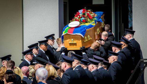 The funeral of firefighter David Brown at Calvary Free Presbyterian Church, Magherafelt
