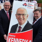 UUP candidate Danny Kennedy with party leader Robin Swann at yesterday's European election manifesto launch at the Stormont Hotel