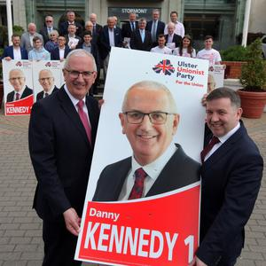 The UUP's Danny Kennedy and party leader Robin Swann