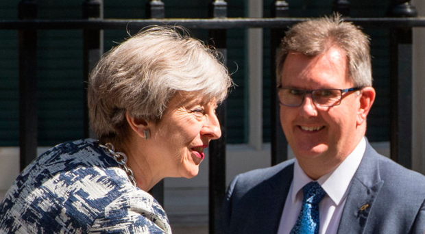 Sir Jeffrey Donaldson and Theresa May in Downing Street