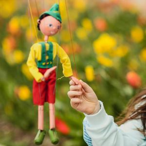 Ruby Bingham admires a marionette ahead of the Ards Puppet Festival