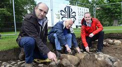 Councillors John Palmer, Jim Dillon and Caleb McCready take part in the final day of the archaeological dig at Moira Demesne