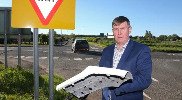 DUP MLA Mervyn Storey at the Junction of Bregagh Road and Gracehill Road in north Antrim where another accident occurred yesterday