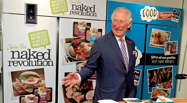 The Prince of Wales at the Finnebrogue Artisan event in Downpatrick (Owen Humphreys/PA)