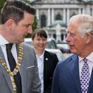Lord Mayor of Belfast John Finucane meets the Prince of Wales (Liam McBurney/PA)