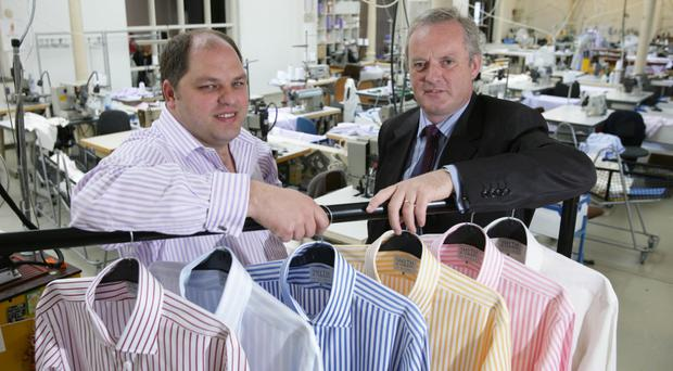 Richard Gibson (left) of Smyth & Gibson with Noel McClean of Invest NI after the firm launched a new £500,000 specialised shirtmaking facility in Londonderry back in 2007