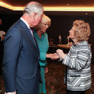 The Prince of Wales and Duchess of Cornwell meeting Lady Joy Hastings of Hastings Hotels