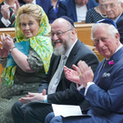 Prince Charles with UK Chief Rabbi Ephraim Mirvis during his visit to Belfast synagogue
