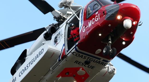 A Coastguard Search and Rescue helicopter located the vessel (Andrew Milligan/PA)