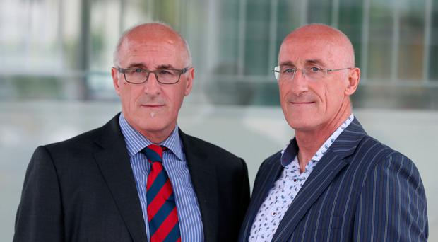 Haemophiliac twins Nigel (left) and Simon Hamilton at the inquiry yesterday