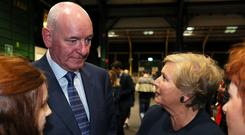 Fine Gael candidates Frances Fitzgerald (right) and former SDLP leader Mark Durkan at the count centre in Dublin (Brian Lawless/PA)