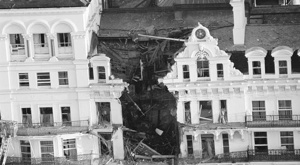 The scene after The Grand Hotel In Brighton was bombed in 1984
