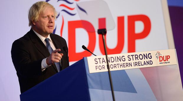 Boris Johnson speaking at last year's DUP annual conference in Belfast