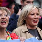 Sinn Fein deputy leader Michelle O'Neill (right) and Sinn Fein MEP Martina Anderson (Brian Lawless/PA)