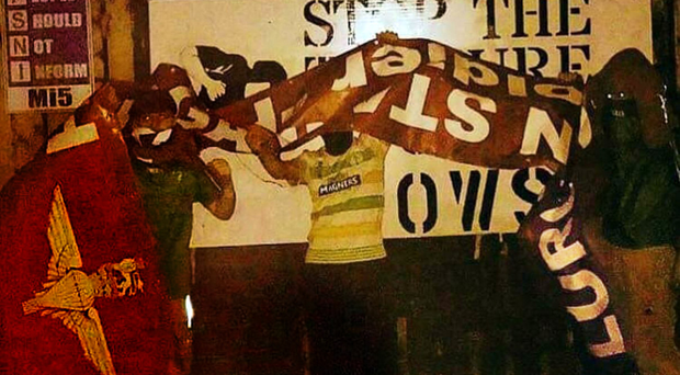 The 'Support Soldier F' banner that was erected in Lurgan which was removed and burnt