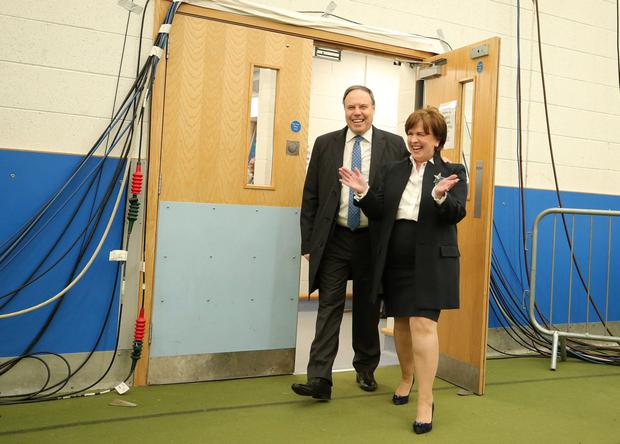 The DUP's Diane Dodds attends the count in Magherafelt with her husband Nigel