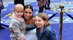 Emily and sister Luciana meet Aladdin star Naomi Scott