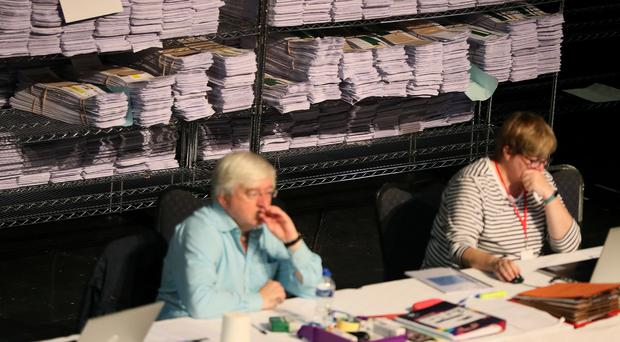 Ballot papers at the count centre in Castlebar (Brian Lawless/PA)