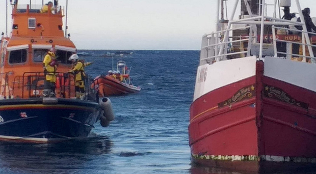 The Donaghadee lifeboat comes to the aid of the stricken fishing vessel